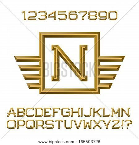 Golden faceted letters and numbers with winged initial monogram. Beautiful presentable font kit for logo design.