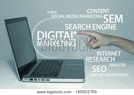 Digital marketing business technology concept in office with laptop