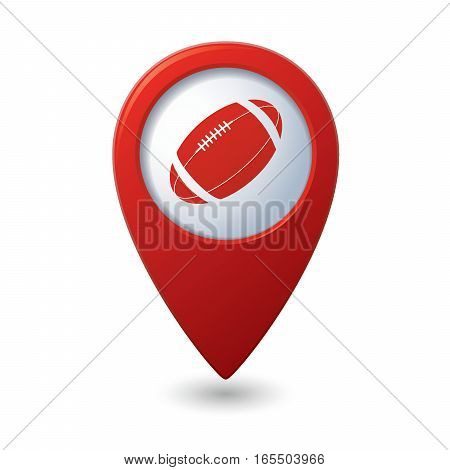 Red map pointer with american football icon