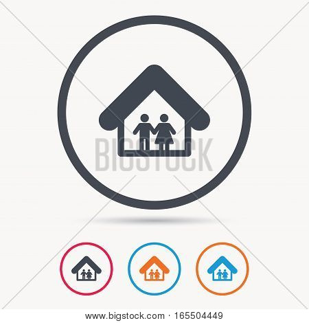 Family icon. Father and mother in home symbol. Colored circle buttons with flat web icon. Vector