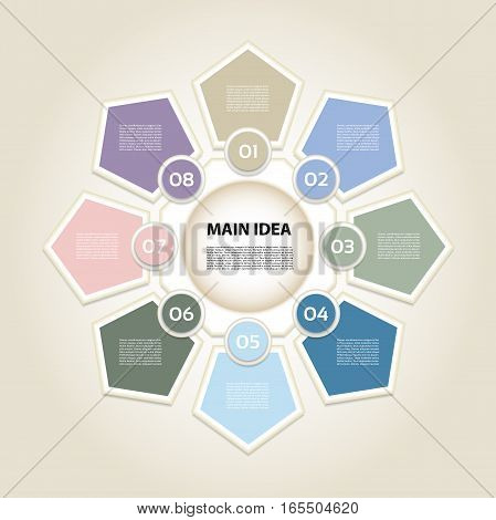 Vector infographic. Template for diagram graph presentation and chart. Business concept with 8 options parts steps or processes. Vector diagram. Progress background.