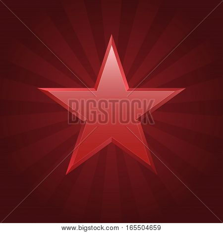 Red star logo. Christmas sign, communism emblem