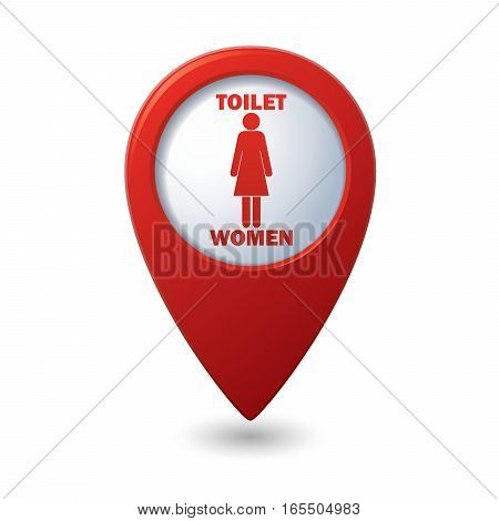 Red map pointer with restroom icons, lady. WC icon