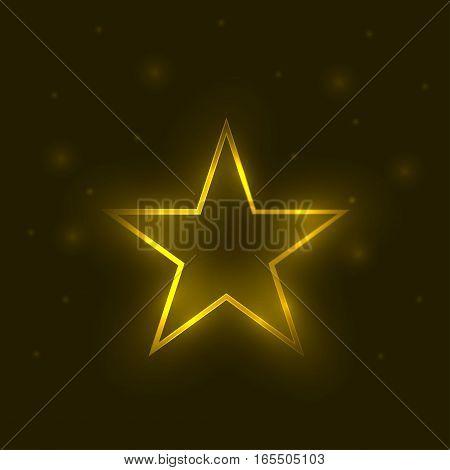 Golden magic star. Bright light effect, Vector illustration