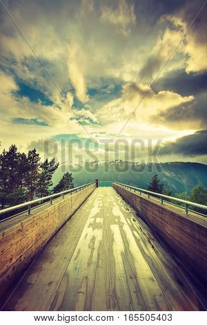 Tourist On Stegastein Viewpoint, Norway