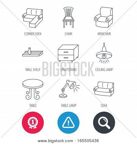 Achievement and search magnifier signs. Corner sofa, table and armchair icons. Chair, ceiling lamp and nightstand linear signs. Wall shelf furniture flat line icons. Hazard attention icon. Vector