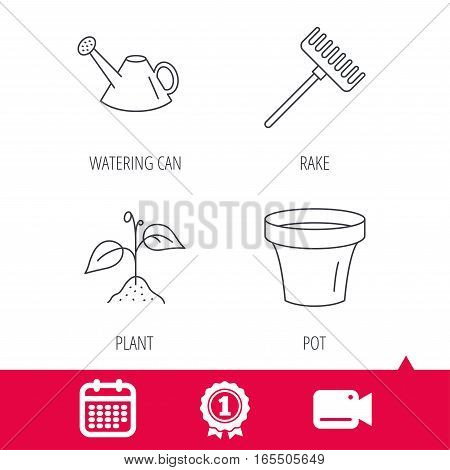 Achievement and video cam signs. Sprout plant, watering can and pot icons. Rake linear sign. Calendar icon. Vector