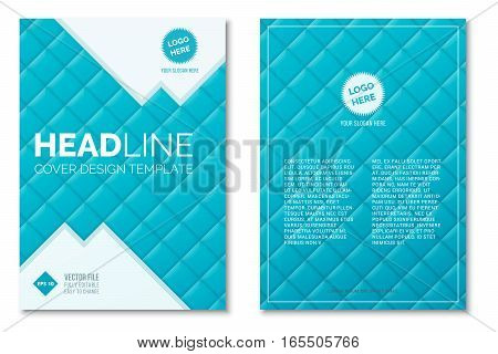 Cover Design Template in A4 size. Blue squares. Annual report brochure design vector. Flyer layout with abstract background
