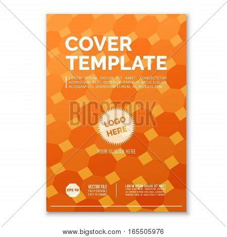 Cover Design Template in A4 size. Orange square grid. Annual report brochure design vector. Flyer layout with abstract background