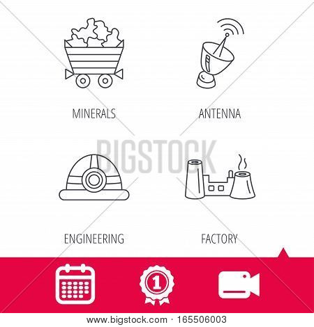 Achievement and video cam signs. Antenna, minerals and engineering helm icons. Factory linear sign. Calendar icon. Vector