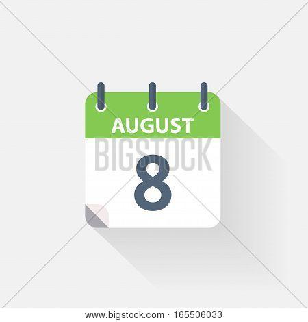 8 august calendar icon on grey background
