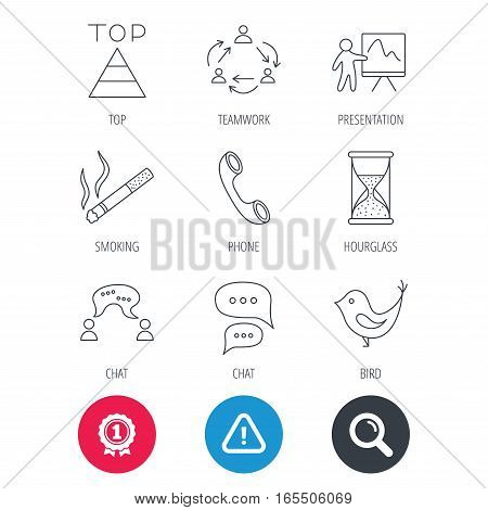 Achievement and search magnifier signs. Teamwork, presentation and phone call icons. Chat speech bubble, hourglass and bird linear signs. Smoking, pyramid icons. Hazard attention icon. Vector