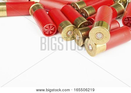 12 gauge red hunting cartridges for shotgun. Macro shot.