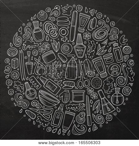 Chalk board vector hand drawn set of Manicure cartoon doodle objects, symbols and items. Round composition