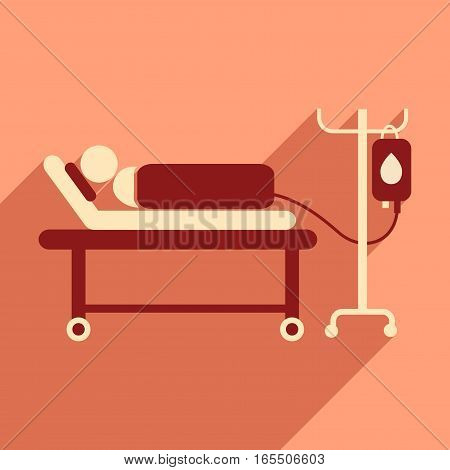 Modern flat icon with long shadow People transfusion