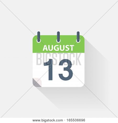 13 august calendar icon on grey background