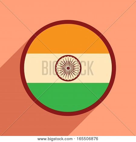 Modern flat icon with long shadow flag of India