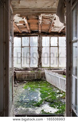 old winter garden - derelict room with large windows