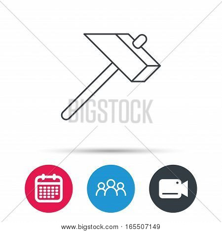 Hammer icon. Repair or fix sign. Construction equipment tool symbol. Group of people, video cam and calendar icons. Vector