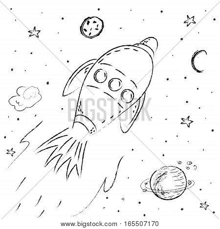 space ship rocket illustration vector graphic for kids.
