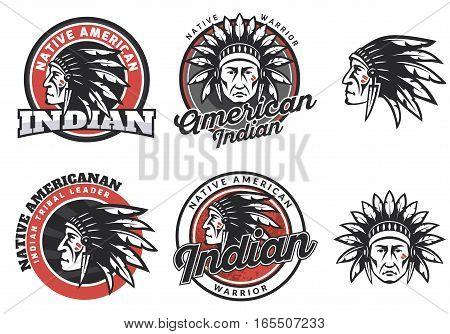 Set of american indian round logo badges and emblems isolated on white background. Face of american indian.