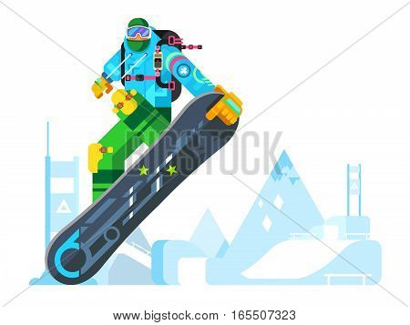 Cartoon character snowboarder. Sport athlete, snowboarding design, move and jump, flat vector illustration