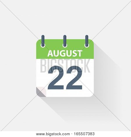 22 august calendar icon on grey background