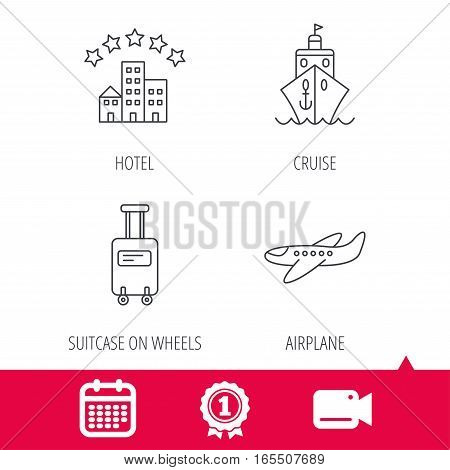 Achievement and video cam signs. Hotel, cruise ship and airplane icons. Baggage linear sign. Calendar icon. Vector