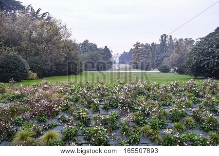 Milan (Lombardy Italy): the Sempione park with Arco della Pace in background in a cloudy day of october