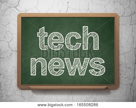 News concept: text Tech News on Green chalkboard on grunge wall background, 3D rendering