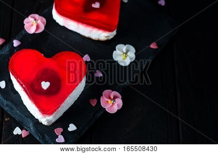 Beautiful red heart for valentine day on wooden desk