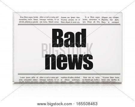 News concept: newspaper headline Bad News on White background, 3D rendering