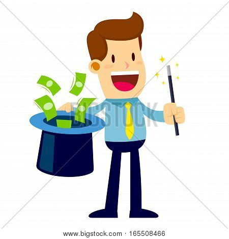 Vector stock of a businessman holding magic wand doing magic trick money came out from hat