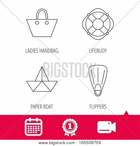 Achievement and video cam signs. Paper boat, flippers and lifebuoy icons. Women handbag linear sign. Calendar icon. Vector