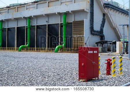 Host box and hydrant for fire protection against power plant background