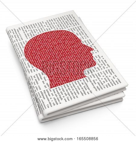Studying concept: Pixelated red Head icon on Newspaper background, 3D rendering