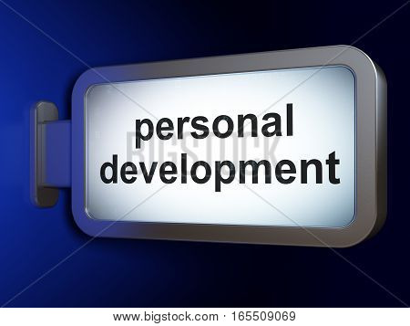 Learning concept: Personal Development on advertising billboard background, 3D rendering