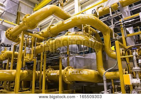 Fuel oil piping in fuel oil supply building of power plant