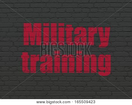Learning concept: Painted red text Military Training on Black Brick wall background