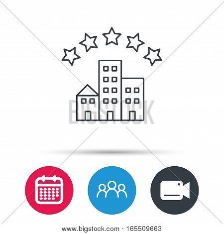 Hotel icon. Five stars service sign. Luxury resort symbol. Group of people, video cam and calendar icons. Vector