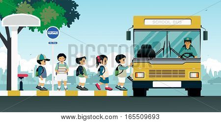 School buses pick up students at the bus stop.