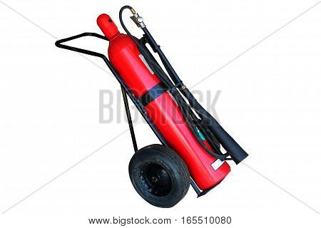 Fire protection equipment, Fire extinguisher on trolley isolated on white background with clipping path