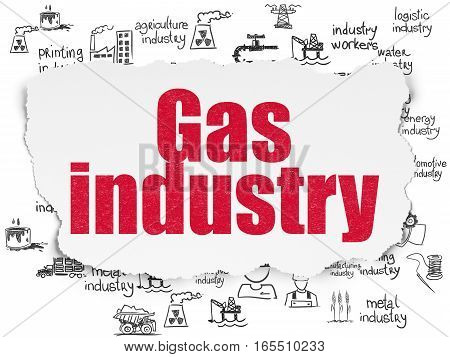 Industry concept: Painted red text Gas Industry on Torn Paper background with  Hand Drawn Industry Icons
