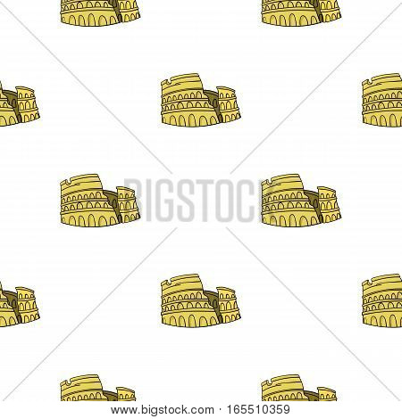Colosseum in Italy icon in cartoon style isolated on white background. Italy country pattern vector illustration.