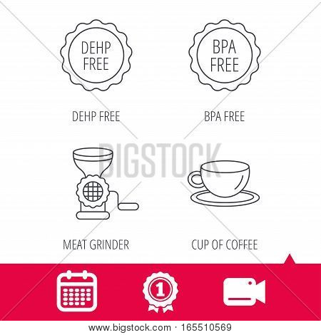 Achievement and video cam signs. Coffee cup, meat grinder and BPA free icons. DEHP free linear sign. Calendar icon. Vector