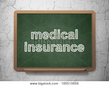 Insurance concept: text Medical Insurance on Green chalkboard on grunge wall background, 3D rendering