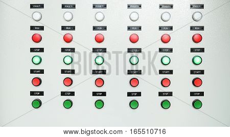 Signal lamp in control panel of power plant control room