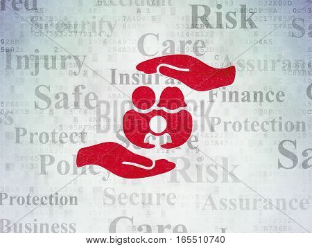 Insurance concept: Painted red Family And Palm icon on Digital Data Paper background with  Tag Cloud