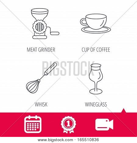 Achievement and video cam signs. Coffee cup, whisk and wineglass icons. Meat grinder linear sign. Calendar icon. Vector
