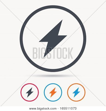 Lightning icon. Electricity energy power symbol. Colored circle buttons with flat web icon. Vector